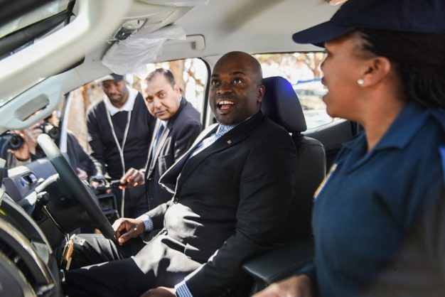 Tshwane mayor Solly Msimanga, centre, inspecting a Ford Ranger during the unveiling of the 103 new vehicles to be used by the Cable Theft Unit, 24 July 2018, TMPD headquarters, Pretoria. Picture: Jacques Nelles
