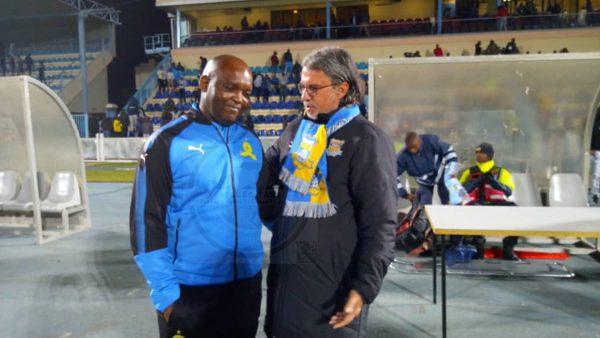 Township Rollers coach Nikola Kavazovic with Mamelodi Sundowns Pitso Mosimane.