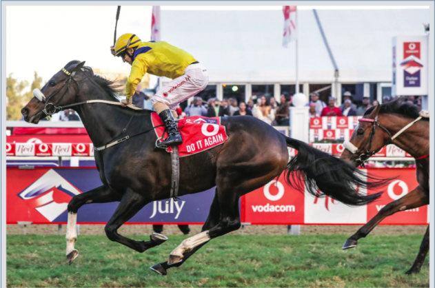 TRIFECTA: Do It Again wins the Vodacom Durban July and led in a Trifecta for trainer Justin Snaith who also saddled Made To Conquer (second) and Elusive Silva (third). (See pages 3 and 8) Picture: Liesl King.