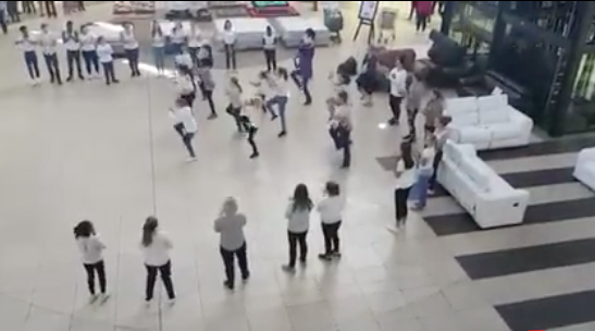 Flashmob dance screengrab.
