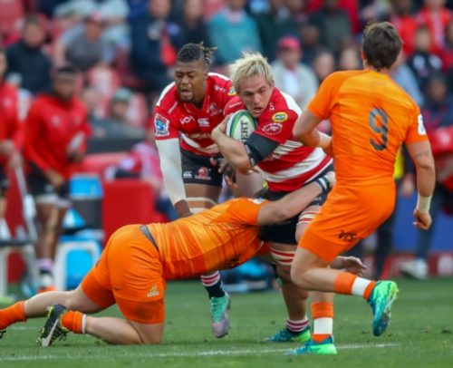Marnus Schoeman and Howard Mnisi of the Lions. Photo: Gallo Images.