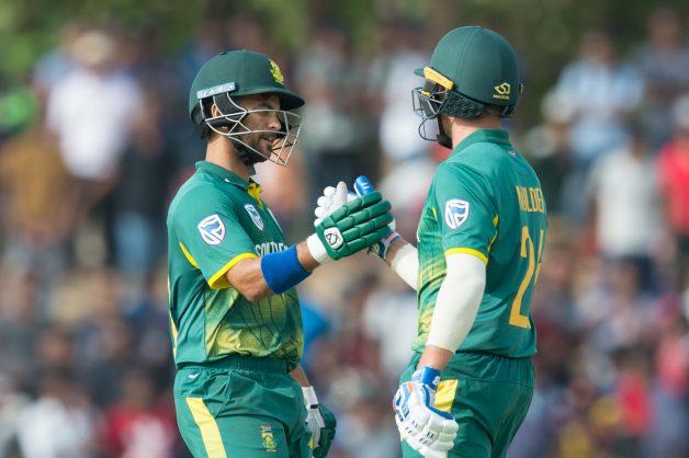 JP Duminy (L) South African batsman congratulated his team mate Willem Mulder (R) after winning 1st ODI between Sri Lanka and South Africa at Rangiri Dambulla International Stadium on July 29, 2018 in Dambulla, Sri Lanka. (Photo by Isuru Sameera Peiris/Gallo Images)