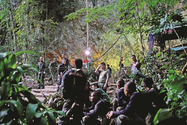Military personnel gather as they prepare to go into Tham Luang cave complex, Thailand, July 5, 2018. Picture: REUTERS