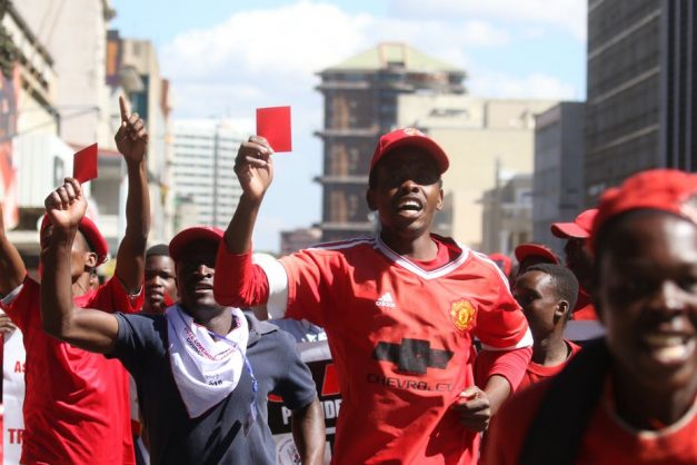 Protesters from the MDC-Alliance march in Harare demanding electoral reforms. Picture: EPA-EFE/Aaron Ufumeli
