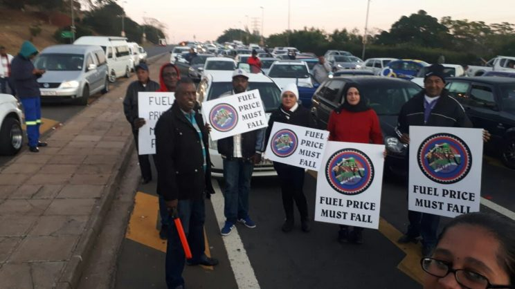 Some of the protesters who participated in the fuel prices must fall protest.