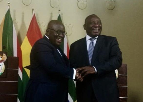 Ghanaian President Nana Addo Dankwa Akufo-Addo, left, with President Cyril Ramaphosa in Pretoria, 5 July 2018. Picture: ANA