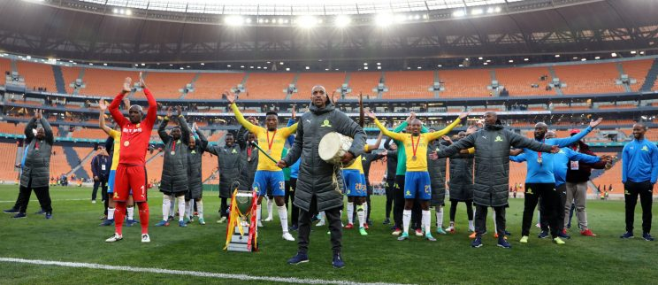 Sundowns celebrates with fans during the 2018 Shell Helix Cup match between Kaizer Chiefs and Mamelodi Sundowns at the FNB Stadium, Johannesburg on 21 July 2018. Picture: Muzi Ntombela/BackpagePix