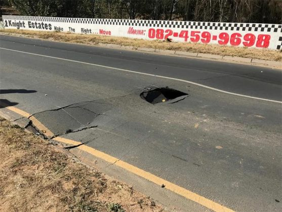 The sinkhole and cracks after the road collapse. Photos: Sourced.
