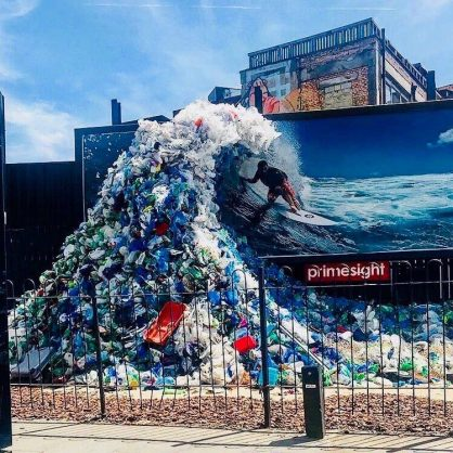 An art installation made entirely of plastic collected at beaches in the UK highlights the need to curb plastic. Image: Twitter/@Lmcoll1