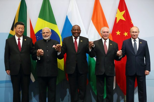 China's President Xi Jinping, Indian Prime Minister Narendra Modi, South Africa's President Cyril Ramaphosa, Brazil's President Michel Temer and Russia's President Vladimir Putin pose for a group picture at the BRICS summit meeting in Johannesburg, South Africa, July 26, 2018. Picture: Mike Hutchings, SA Presidency.
