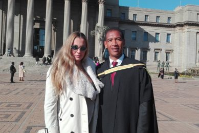 Willemse scores distinction for master's degree, graduates with wife