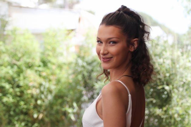 US model Bella Hadid poses during a promotional event on a private beach at the 71st  Cannes Film Festival. Picture: AFP/Valery Hache