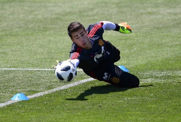 (FILES) In this file photo taken on June 21, 2018 Spain's goalkeeper Kepa Arrizabalaga attends a training session at Krasnodar Academy on June 21, 2018, during the Russia 2018 World Cup football tournament. Athletic Bilbao goalkeeper Kepa Arrizabalaga is set to join Chelsea for 80 million euros (£71.6 million, $92.7 million), according to Spanish media reports on August 7, 2018. The 23-year-old, who has been capped once by Spain, would be the most expensive goalkeeper in history and the replacement for Belgian Thibaut Courtois, who is expected to leave Stamford Bridge for Real Madrid.  / AFP PHOTO / PIERRE-PHILIPPE MARCOU