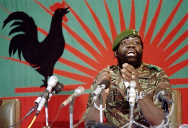 (FILES) In this file picture taken on December 11, 1985 Angolan rebel chief Jonas Savimbi addresses soldiers in Jamba. AFP PHOTO / Trevor Samson
