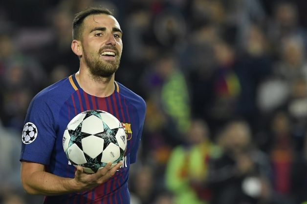 (FILES) In this file photo taken on December 5, 2017 Barcelona's Spanish forward Paco Alcacer celebrates after scoring a second goal during the UEFA Champions League football match FC Barcelona vs Sporting CP at the Camp Nou stadium in Barcelona. Alcacer will go out on loan to German Bundesliga side Borussia Dortmund, the club announced on August 28, 2018. / AFP PHOTO / LLUIS GENE