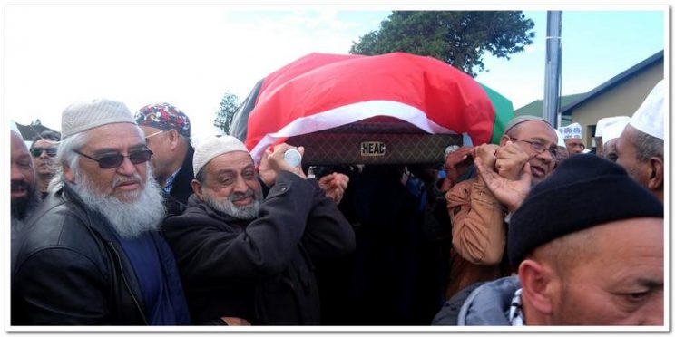 The bier with the body of Moulana Ihsaan Hendricks. Picture: ANA