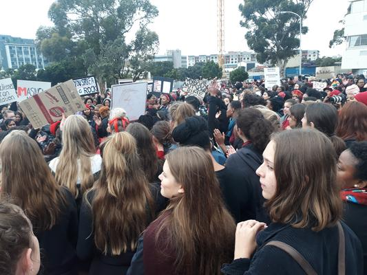 Hundreds of women of all races gather in Cape Town to protest against gender-based violence and march to parliament, #TotalShutdown, 1 August 2018. Picture: ANA