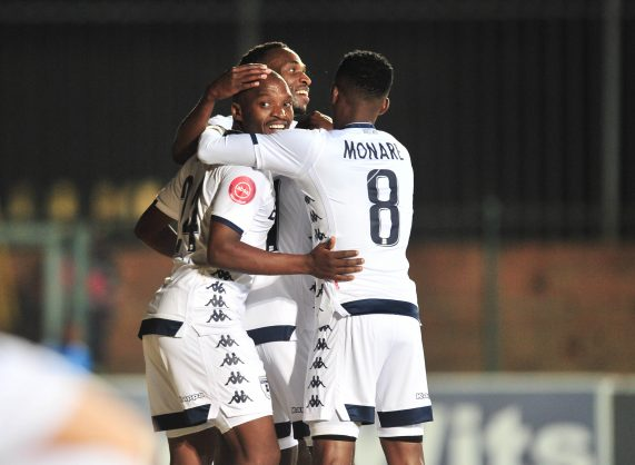 Gift Motupa of Bidvest Wits celebrates a goal with teammates during the Absa Premiership 2018/19 match between Bidvest Wits and Free State Stars at Bidvest Stadium. (Samuel Shivambu/BackpagePix)