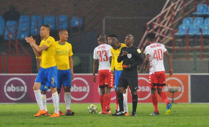 Match Referee Phelelani Ndaba sends off Ricardo Nascimento of Mamelodi Sundowns during the Absa Premiership match between Mamelodi Sundowns and Highlands Park at Loftus Versfeld Stadium (Pic Sydney Mahlangu/BackpagePix)