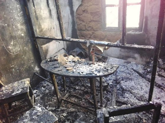 Alleged arson attack on community radio station Sky FM in the volatile Northwest region. Picture: Bernard Tata Gibip
