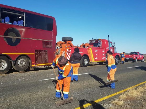 The Naledi Bus Company bus's crash site being cleaned up, 30 August 2018. Picture: Twitter