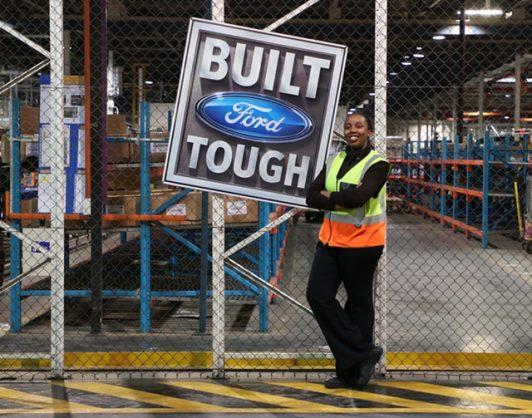 Keabetswe Molebaloa poses in Ford's plant in Silverton, Pretoria. Picture: Supplied