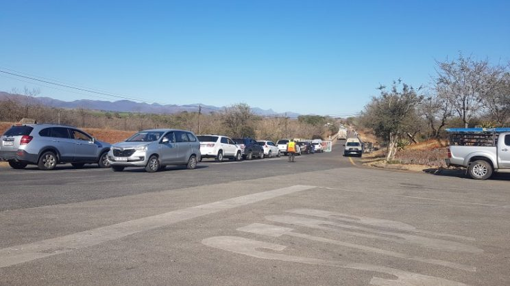 Vehicles queue at the Kruger National Park's Malelane Gate around 9am this morning.