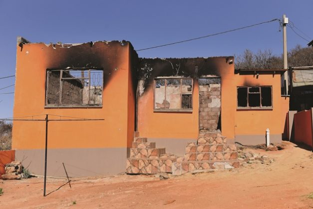 A view of the burnt down house in Orange Farm, 10 August 2018. Picture: Refilwe Modise