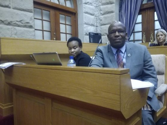 Acting CEO Abraham Mahlangu and Raphaahle briefing parliament on the payment of social grants for August. Photo: Barbara Maregele