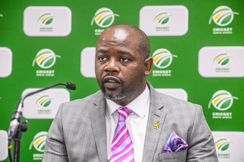 CEO Thabang Moroe of CSA during the Cricket South Africa (CSA) and South African Cricketers' Association (SACA) Joint media briefing at CSA Offices on July 31, 2018 in Johannesburg, South Africa. (Photo by Sydney Seshibedi/Gallo Images)