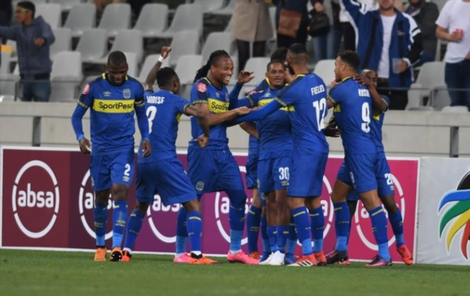 Cape Town City players celebrate a a goal  (Photo by Ashley Vlotman/Gallo Images)