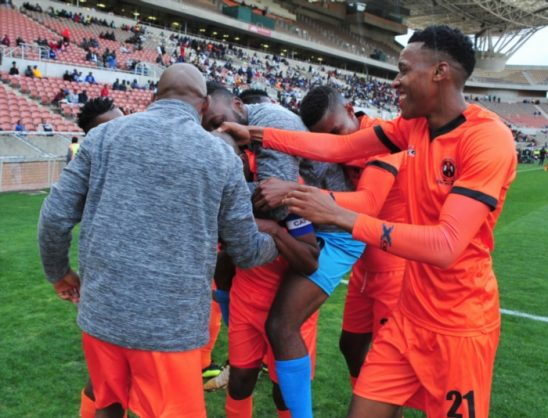 Jabu Maluleke of Polokwane City celebrates goal with team mates during the Absa Premiership match between Polokwane City and Baroka FC at Peter Mokaba Stadium on August 18, 2018 in Polokwane, South Africa. (Photo by Philip Maeta/Gallo Images)