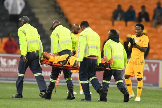 Joseph Molangoane injured during the MTN 8 quarter final match between celebrates his goal Kaizer Chiefs and Free State Stars at FNB on August 11, 2018 in Johannesburg, South Africa. (Photo by Lefty Shivambu/Gallo Images)
