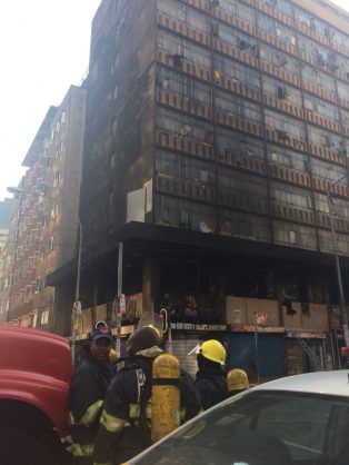Saps, JMPD, City Power, Gauteng Taffic department and Home affairs where busy with crime prevention operations in the city, when the building was allegedly set on fire, no arrests have been made and no injuries have been reported. Pictures Tracy Lee Stark