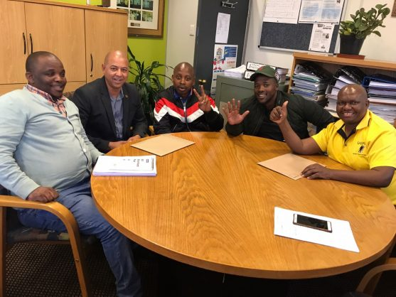 The special request for a NMB council meeting was submitted by (from left) the AIC's Tshonono Buyeye, the PA's Marlon Daniels, the ANC's Andile Lungisa, the EFF's Zilindile Vena, and the UDM's Mongameli Bobani. Picture: Supplied