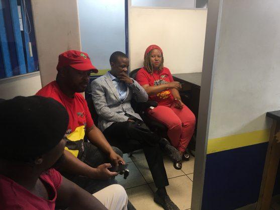 The EFF alongside Pastor Mboro met at the Bramley police station open a case. Image:  Samkelo Maseko/Twitter