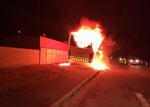 A Golden Arrow bus was set alight in Shushu crescent, Khayelitsha on Monday morning, 6 August 2018. Picture: supplied