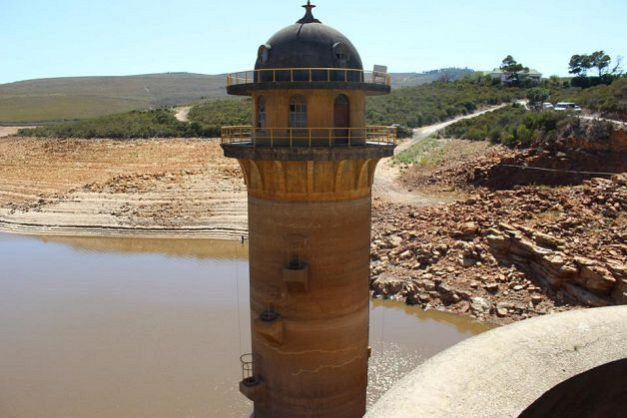 The water level of the Churchill Dam, one of the dams supplying Nelson Mandela Bay with water, is very low. Picture: Facebook