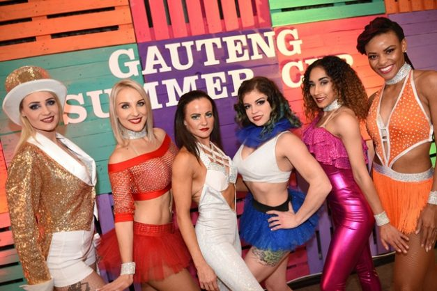 Hostesses pose for a photograph, 22 August 2018, at the launch of the G-BETS Gauteng Summer Cup held at the Good Luck Bar in Johannesburg. This year the province's most prestigious horse race, held at Turffontein Racecourse, will be welcomed in with an exclusive half-time show, featuring top South African entertainment, a large-scale field band, dancers, singers and more. The race will take place on 1 December. Picture: Michel Bega
