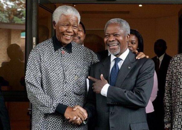 Annan and former president Nelson Mandela were close friends. Image: Twitter/@IamMzilikazi
