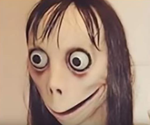 The Momo suicide challenge face used on WhatsApp. Image: YouTube