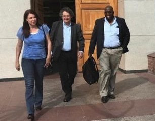 From left: Enca reporter Sandy McCowen, CEO Anton Harber, and cameraman Nceba Ntlanganiso leave the PE Magistrate's Court after assault charges against the journalists were withdrawn by the DPP. Picture: Raahil Sain/ANA