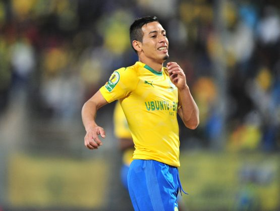 Gaston Sirino of Mamelodi Sundowns during the 2018 CAF Champions League match between Mamelodi Sundowns and AS Togo Port at Lucas Moripe Stadium. (Samuel Shivambu/BackpagePix)
