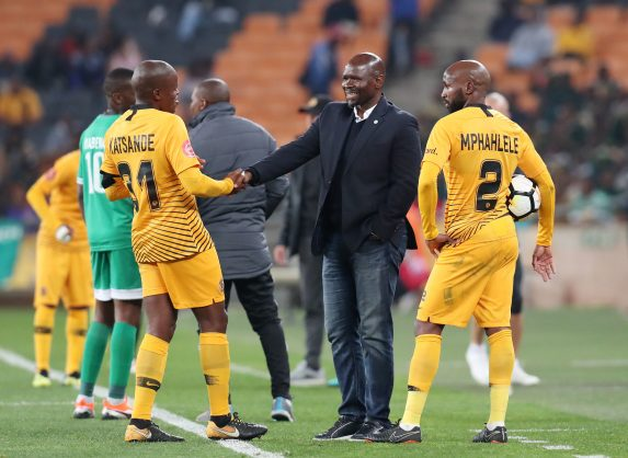 Steve Komphela, coach of Bloemfontein Celtics talking to Willard Katsande and Ramahlwe Mphahlele of Kaizer Chiefs during the Absa Premiership 2018/19 match between Kaizer Chiefs and Bloemfontein Celtics at the FNB Stadium. (Muzi Ntombela/BackpagePix)