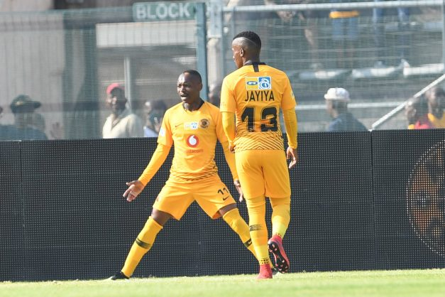 Khama Billiat of Kaizer Chiefs celebrates his goal with Bongolethu Jayiya during the  MTN8 semi final 1st Leg match between SuperSport United and Kaizer Chiefs at Lucas Moripe Stadium. (Photo by Lefty Shivambu/Gallo Images)
