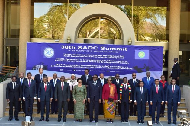 Ramaphosa and attendees pose foe a photo at the 38th Ordinary SADC Heads of State and Government Summit hosted by the Republic of Namibia. Image: Twitter/@PresidencyZA