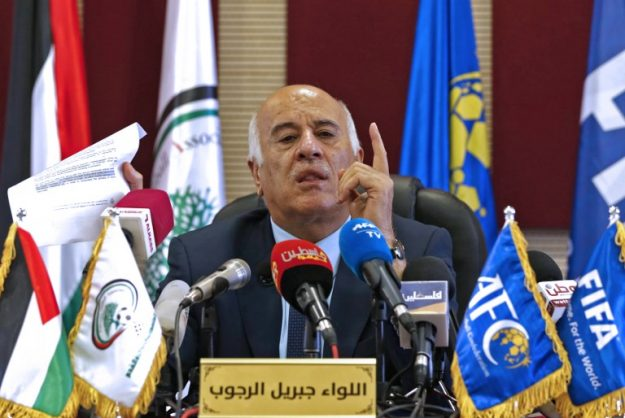 Palestinian Football Association (PFA) head and member of the Fatah Central Committee, Jibril Rajoub, speaks during a press conference in the West Bank city of Ramallah on September 3, 2018. FIFA gave, on August 24, Rajoub, the Palestinian Football Federation boss, a 12-month ban after he called for protest against Lionel Messi and his plan to play with Argentina in Jerusalem. / AFP PHOTO / ABBAS MOMANI