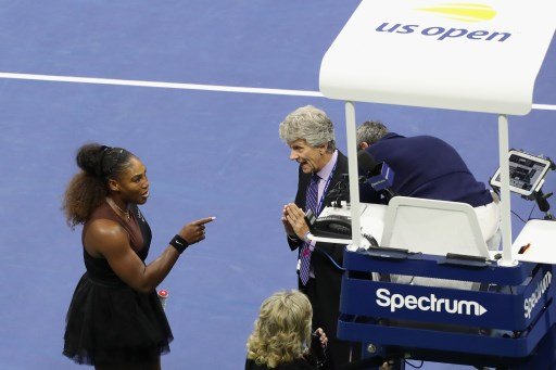 Serena Williams of the United States argues with referee Brian Earley during her Women's Singles finals match against Naomi Osaka of Japan on Day Thirteen of the 2018 US Open at the USTA Billie Jean King National Tennis Center on September 8, 2018 in the Flushing neighborhood of the Queens borough of New York City. Jaime Lawson/Getty Images for USTA/AFP