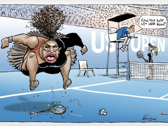 The cartoon of Serena Williams by Australian newspaper cartoonist Mark Knight.