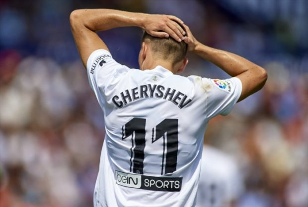 Denis Cheryshev of Valencia reacts after he fails to score during the La Liga match between Levante UD and Valencia CF at Ciutat de Valencia on September 2, 2018 in Valencia, Spain. (Photo by Quality Sport Images/Getty Images)